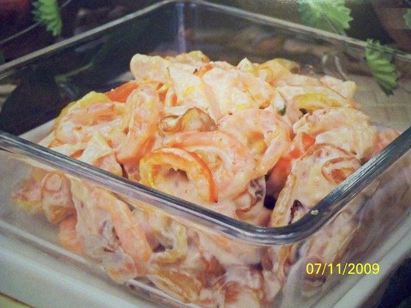 Теплый салат с курицей и болгарским перцем рецепт 63