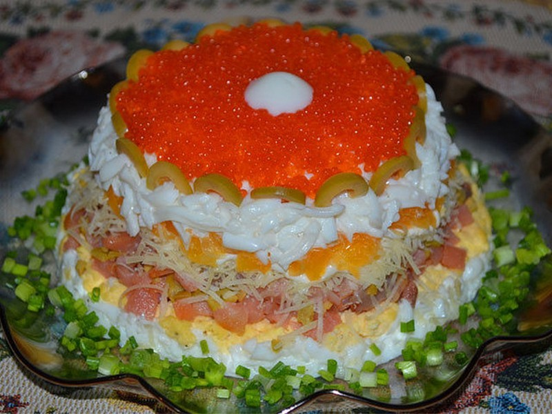 новогодние салат с красной рыбой рецепты с фото