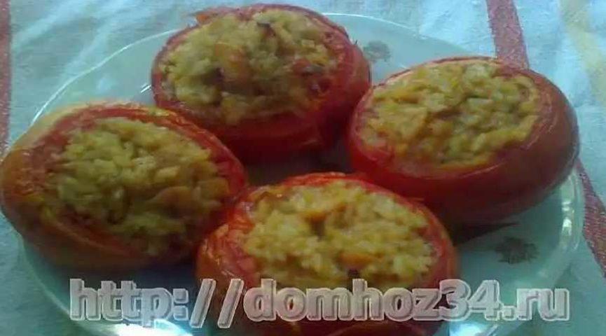 Помидоры, фаршированные курицей и рисом в духовке, рецепт с фото
