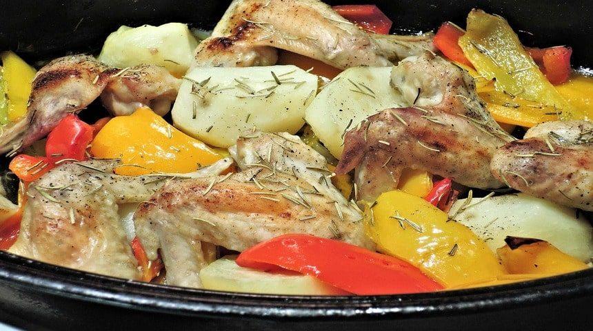 Куриные крылышки с картошкой на сковороде
