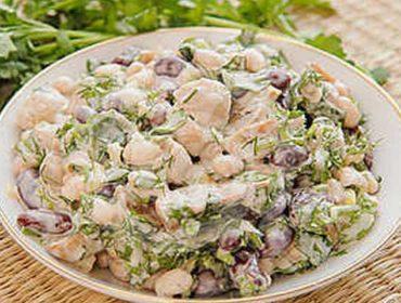Постный салат оливье: без колбасы, майонеза, с грибами и фасолью