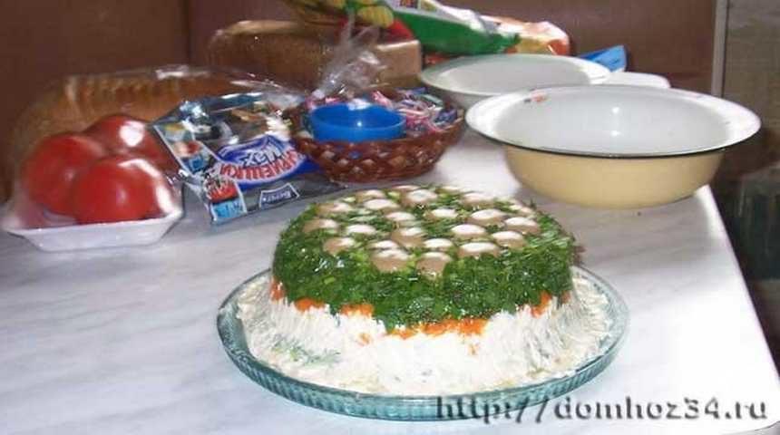 Салат грибная полянка с шампиньонами