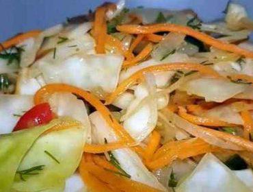 Обалденный салат с пекинской капустой и помидорами и корейской морковью